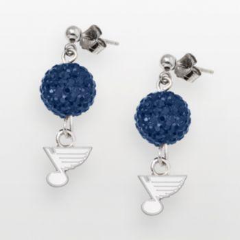 St. Louis Blues Sterling Silver Crystal Ball Drop Earrings