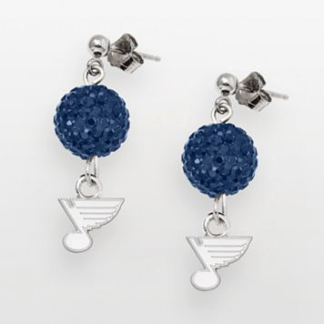St. Louis Blues Sterling Silver Crystal Ball Drop Earrings