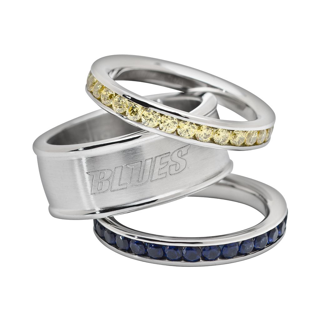 LogoArt St. Louis Blues Stainless Steel Crystal Stack Ring Set