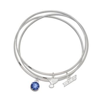 St. Louis Blues Silver Tone Crystal Charm Bangle Bracelet Set