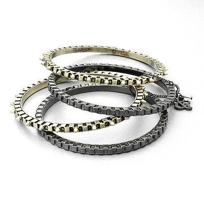 Rock and Republic Two Tone Studded Bangle Bracelet Set