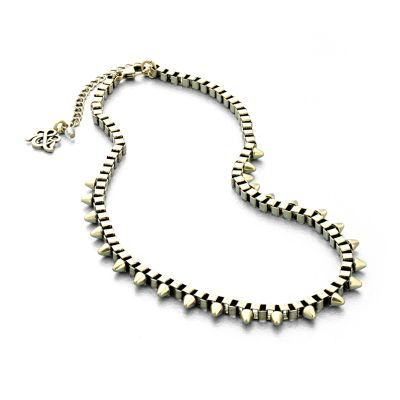 Rock and Republic Gold Tone Studded Box-Chain Necklace