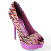 Journee Collection Lamb Platform Peep-Toe High Heels - Women