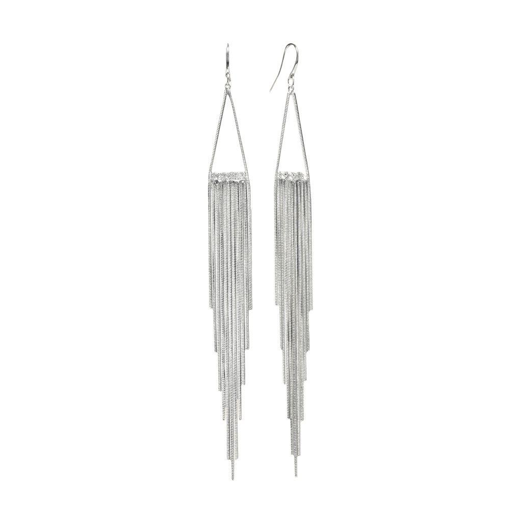 Jennifer Lopez Simulated Crystal Fringe Drop Earrings