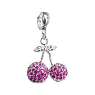 Sterling Silver Lab-Created Ruby Cherry Charm