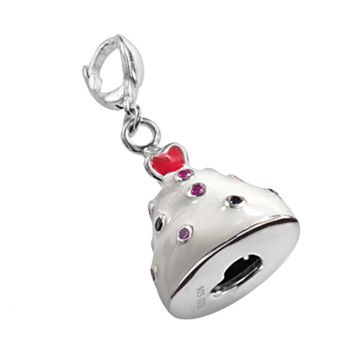Sterling Silver Lab-Created Blue and Pink Sapphire and Lab-Created Ruby Cupcake Charm