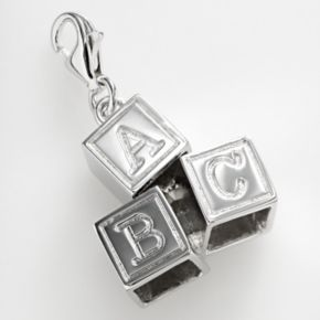 Sterling Silver '' ABC'' Baby Blocks Charm