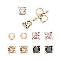 24k Gold Plated Cubic Zirconia Stud Earring Set