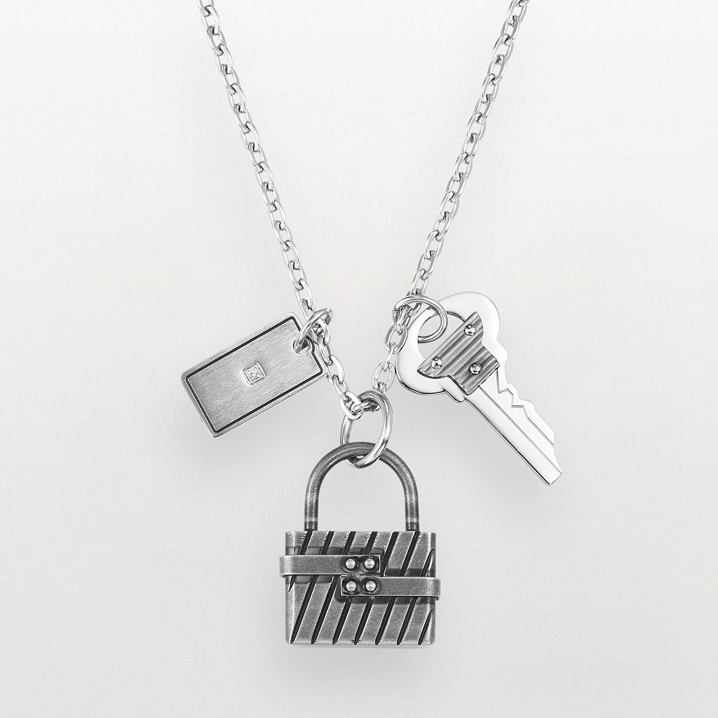 AXL by Triton Stainless Steel Diamond Accent Lock & Key Charm Necklace - Men