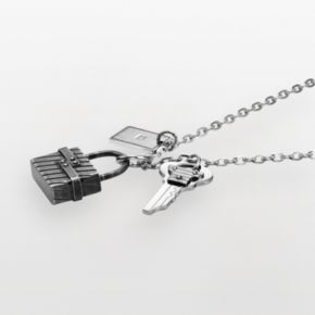 AXL by Triton Stainless Steel Diamond Accent Lock and Key Charm Necklace - Men