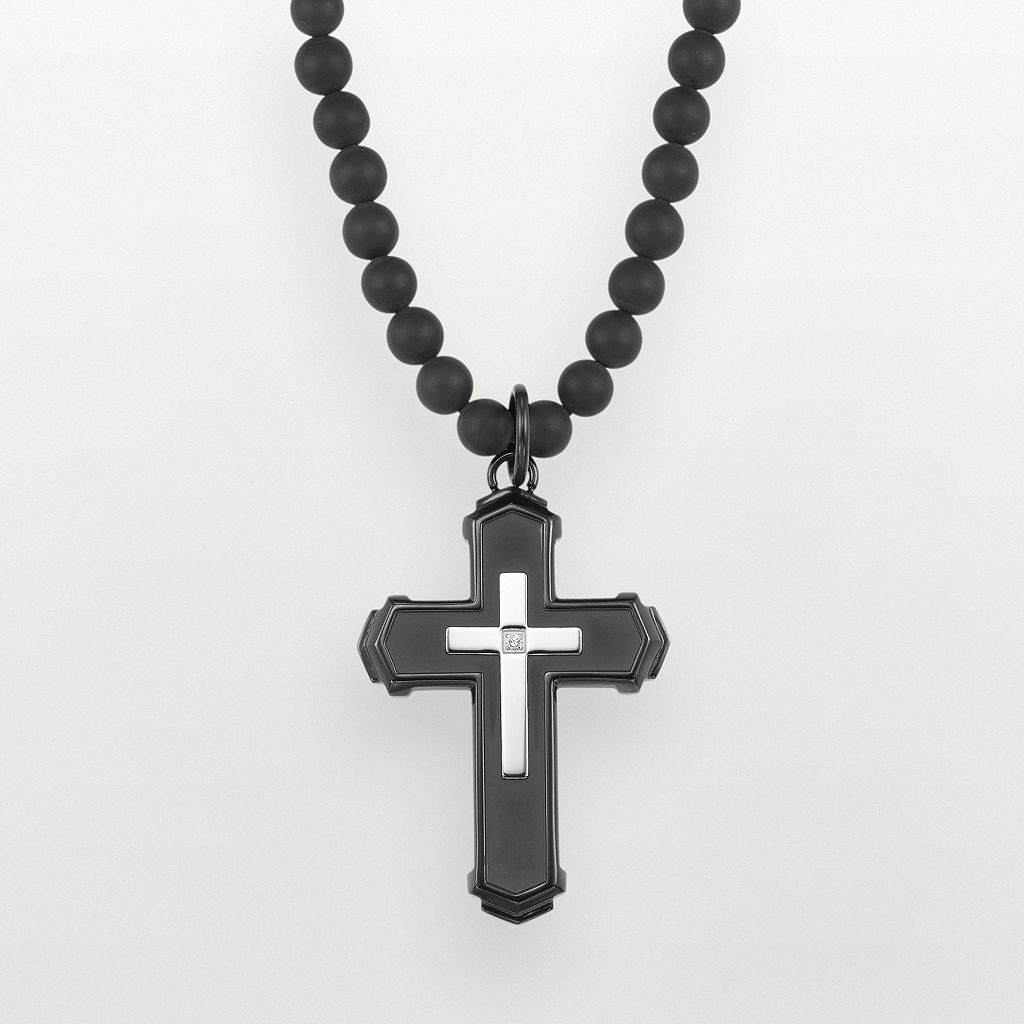 AXL by Triton Stainless Steel Black Ion Plate Diamond Accent Cross Pendant - Men