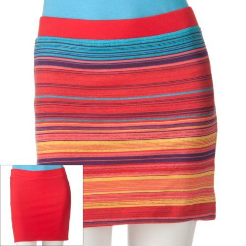Energie Striped Reversible Miniskirt