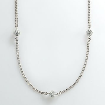 Sterling Silver Crystal Ball Multistrand Station Necklace