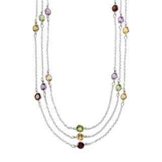 Sterling Silver Gemstone Multistrand Station Necklace