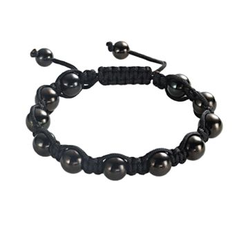 Stainless Steel Black Ion Shamballa Bracelet