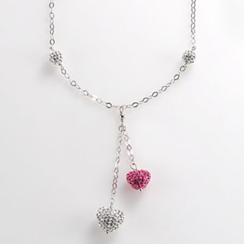 Sterling Silver Pink & White Crystal Heart Necklace
