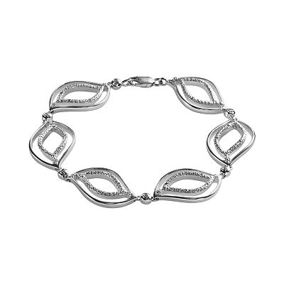Sterling Silver .15-ct. T.W. Diamond Leaf Bracelet
