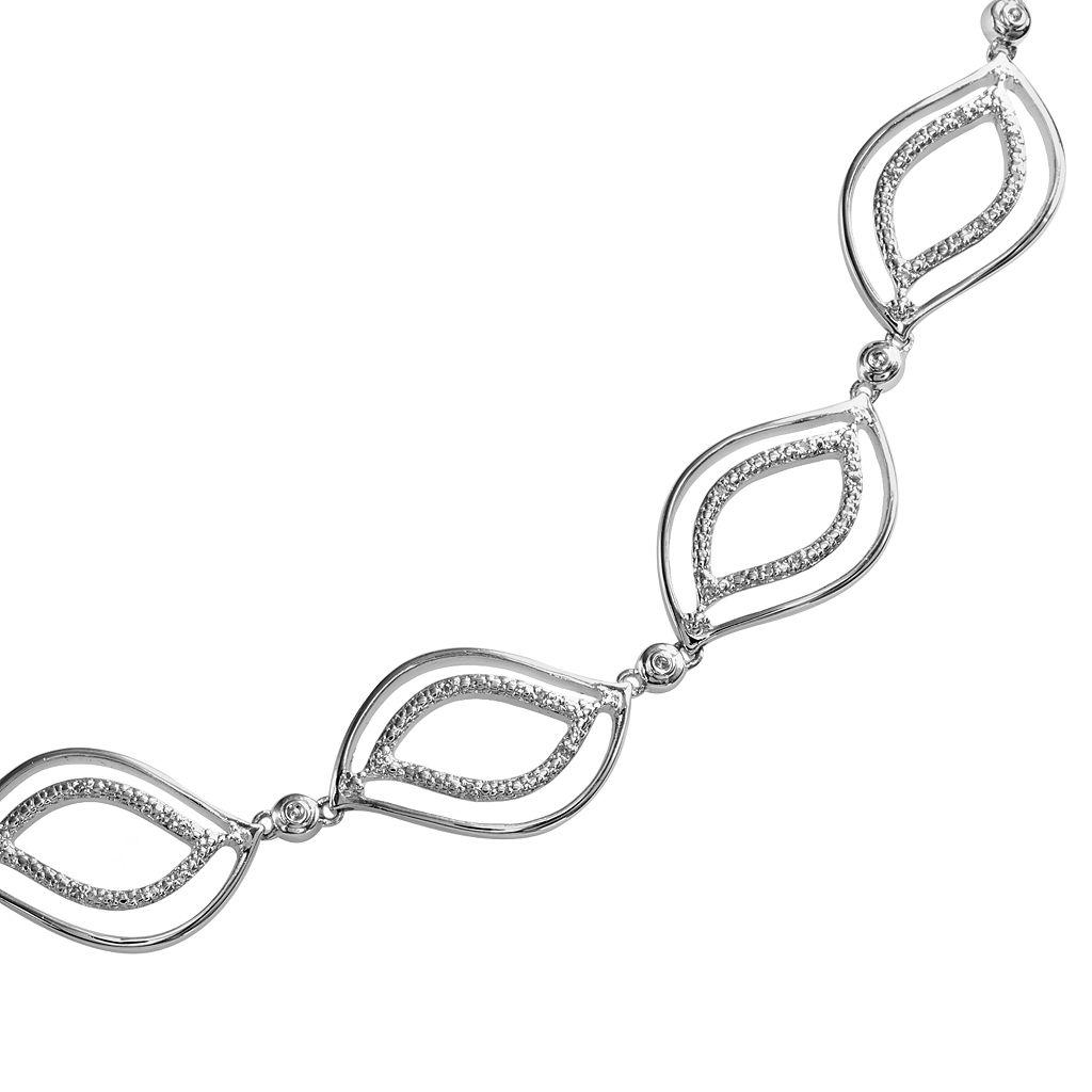 Sterling Silver 1/7-ct. T.W. Diamond Leaf Bracelet