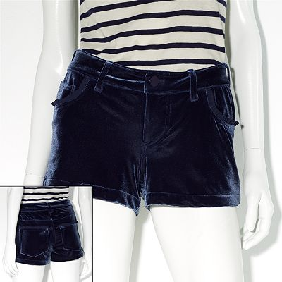 Princess Vera Wang Ruffled Velvet Shortie Shorts - Juniors