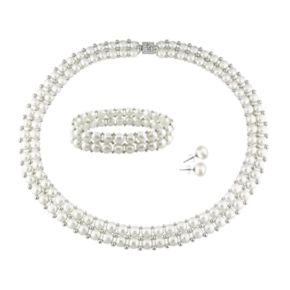 Stella Grace Sterling Silver Freshwater Cultured Pearl Necklace, Stretch Bracelet and Stud Earring Set