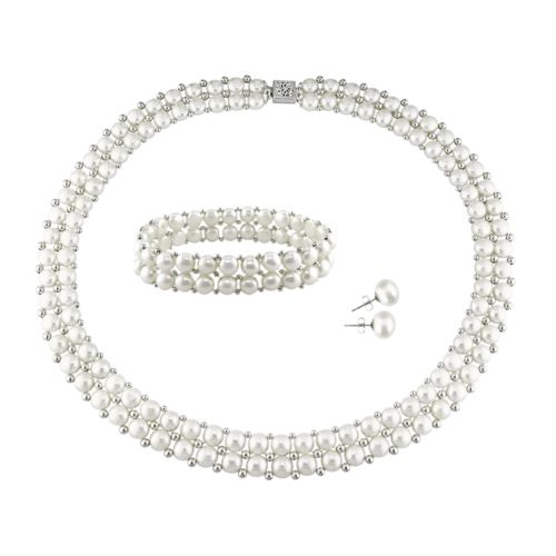 Sterling Silver Freshwater Cultured Pearl Necklace, Stretch Bracelet and Stud Earring Set