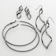 Candie's Tri-Tone Marquise and Twist Drop and Hoop Earring Set