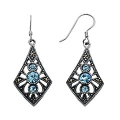 Silver Plated Simulated Crystal & Marcasite Kite Drop Earrings