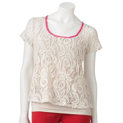 Lily Rose Lace Zipper Top - Juniors