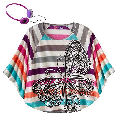 Self Esteem Striped Butterfly Poncho Top - Girls 7-16
