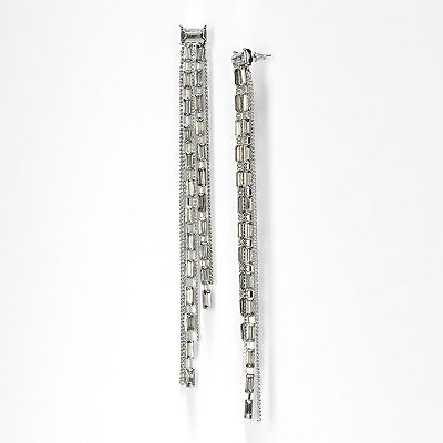 Simply Vera Vera Wang Silver Tone Rectangle and Fringe Linear Drop Earrings