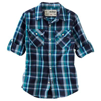 Urban Pipeline Plaid Poplin Button-Down Shirt - Boys 8-20