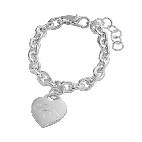 Denver Broncos Silver Tone Logo Heart Charm Bracelet