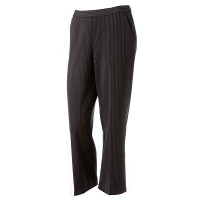 Sag Harbor Pin-Striped Straight-Leg Pull-On Pants - Petite