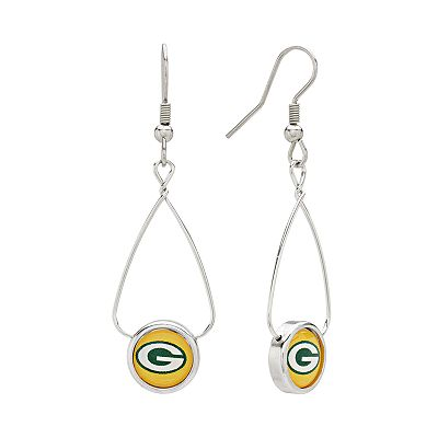Green Bay Packers Silver Tone French Loop Logo Drop Earrings