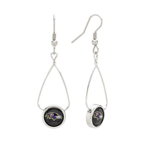 Baltimore Ravens Silver Tone French Loop Logo Drop Earrings