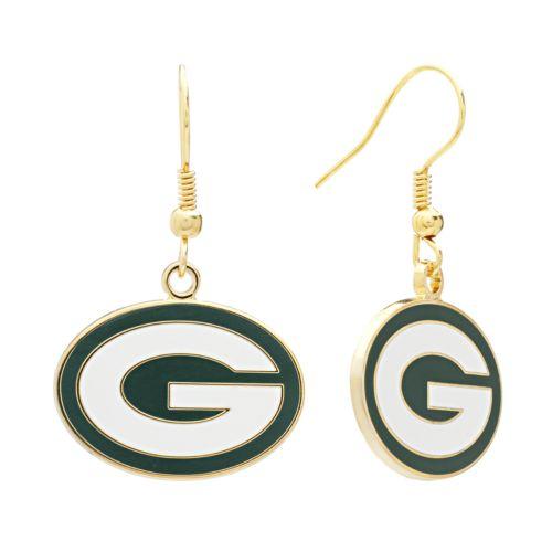 Green Bay Packers Gold Tone Logo Drop Earrings