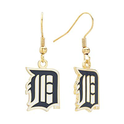 Detroit Tigers Gold Tone Logo Drop Earrings