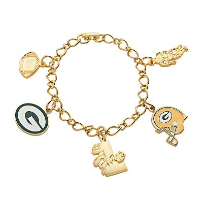 Green Bay Packers Gold Tone Charm Bracelet