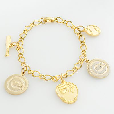 Chicago Cubs Gold Tone Charm Bracelet