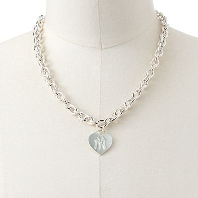 New York Yankees Silver Tone Logo Heart Pendant