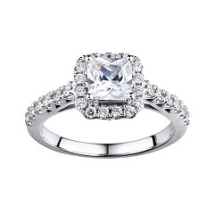 DiamonLuxe Sterling Silver 2 ctT.W. Simulated Diamond Halo Ring