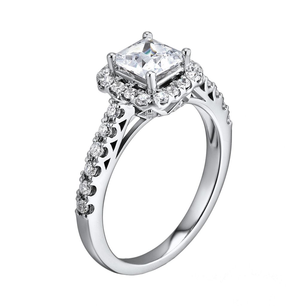 DiamonLuxe Sterling Silver 2-ct. T.W. Simulated Diamond Frame Ring
