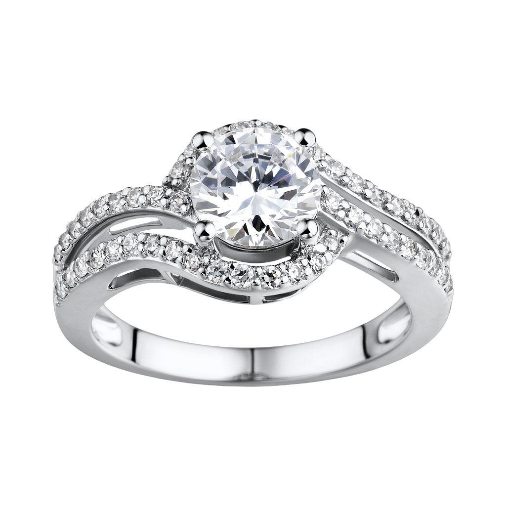 DiamonLuxe Sterling Silver 2.15-ct. T.W. Simulated Diamond Openwork Swirl Ring