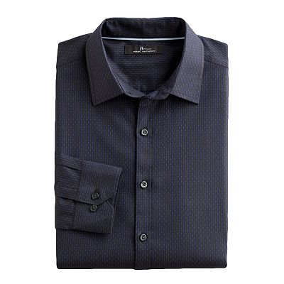 Marc Anthony Slim-Fit Checked Striped Casual Button-Down Shirt