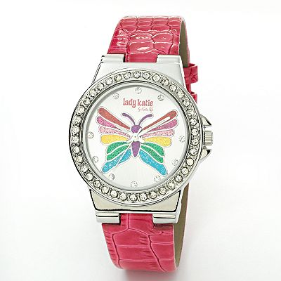 Lady Katie by Katie Pop Silver Tone Simulated Crystal Butterfly Watch - Women