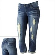 Mudd Deconstructed Roll-Cuffed Denim Capris - Juniors