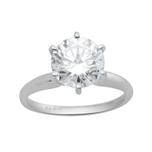 Renaissance Collection Solitaire Engagement Ring in 14k White Gold - Made with Swarovski Zirconia