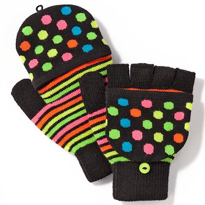 SO Polka-Dot and Striped Convertible Flip Gloves