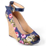 Journee Collection Melt Peep-Toe Platform Wedge High Heels - Women