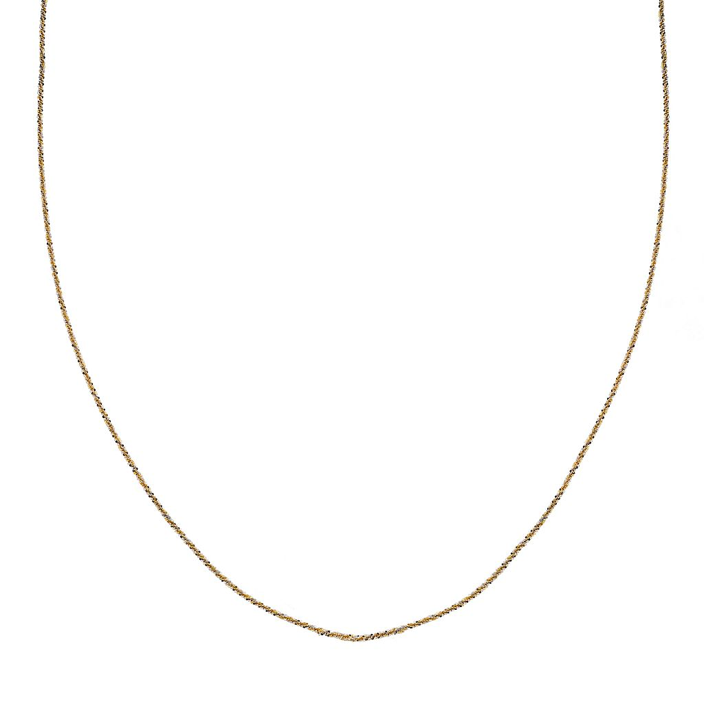 Gold Tone Sterling Silver Sparkle Chain Necklace - 16-in.